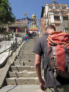 Climbing the steps to Swayambhunath, Kathmandu